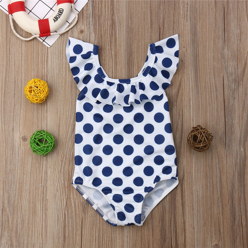 Swimwear Jumpsuit Beachwear Bathing-Suit Swimming-Costume Polka-Dot Baby-Girl Toddler title=