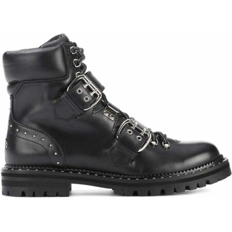 Cheville Bottes Cuir De Black Fermoir Chaussures Hiver 2018 En Rivet Pour Luxe Mode Cravate black Métal Femmes Locomotive red Véritable xZ04YwqEw