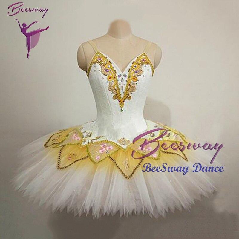 Adult Professional Ballet Tutu Costume Sleeping Beauty Yellow Classic Tutu