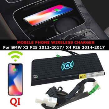 Telefon tutucu kablosuz şarj aleti QI Kablosuz Şarj Telefon Şarj Aleti Merkezi Konsol BMW X4 F26 X3 F25 2011-2017 LHD Modelleri