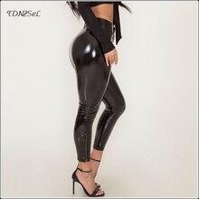 купить!  Женские черные искусственные кожаные штаны с длиной до щиколотки ПВХ латексные леггинсы с застежкой