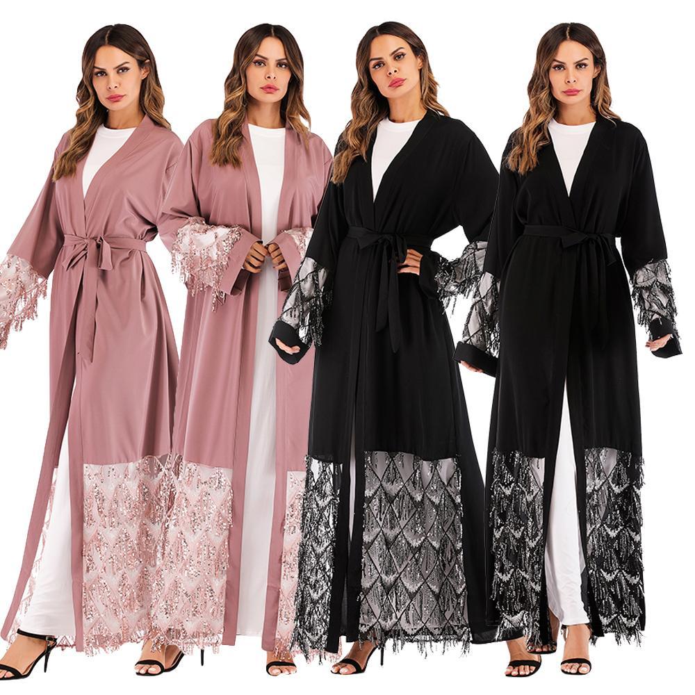 Abayas pour femmes 2019 Caftan Abaya Sequin musulman Hijab Robe Robe dubaï Caftan Marocain Jilbab Qatar turc vêtements islamiques
