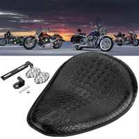 Alligator Leather+Steel 3 Spring Bracket Solo Seat Black For Harley Chopper Bobber Attractive Look Motorcycles Seats & Benches