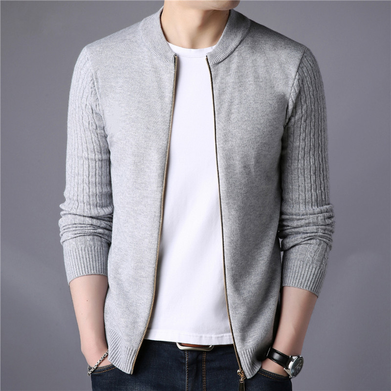 Knitted Jacket Coats Sweters Zipper Cardigan Round-Neck Winter Casual Brand Slim-Fit