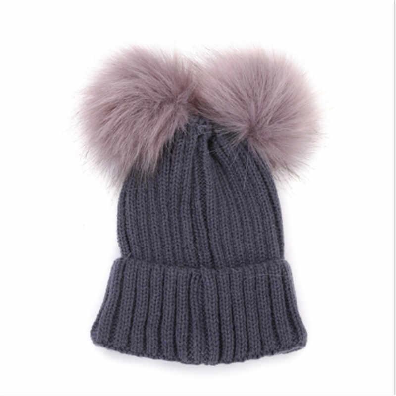 e0d52b968 Autumn Winter Baby Boys Girls Faux Fur Pompom Hat Female Warm Cap Knitted  Beanie Girl Double Ball Pom Pom Hats Kids Bonnet Femme