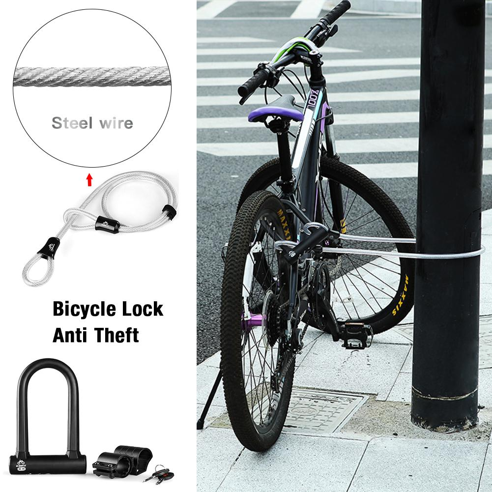 New Black Bicycle U shape Lock Anti hydraulic Shearing Anti theft Upgrade Strong And Sturdy Portable Lock Cycling Accessories|Bicycle Lock| |  - title=