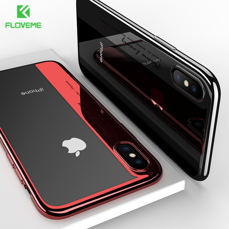 FLOVEME Plated Silicon Case For iPhone X 8 7 Luxury Mobile Phone Accessories For iPhone 6 6s 7 8 Plus Crystal Clear Cover Cases