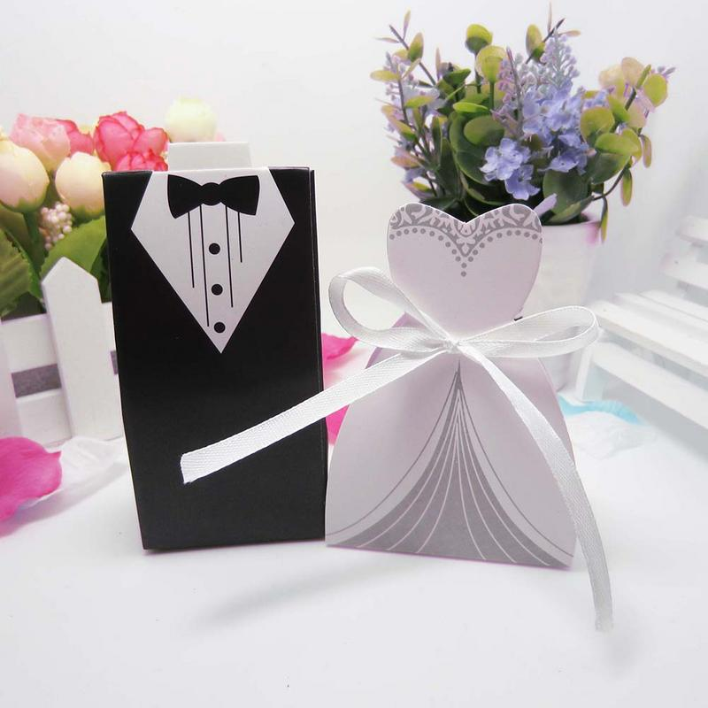 New 100pcs/lots Bride And Groom Dresses Wedding Candy Box Gifts Favor Box Wedding Bonbonniere DIY Event Party Supplies Deoration