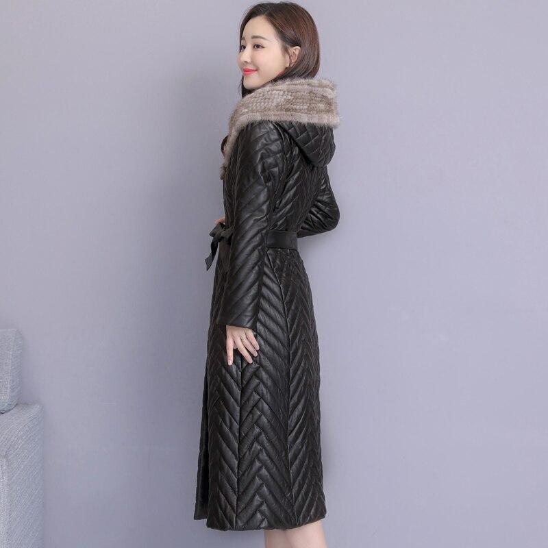 Moutons Avec Manteaux Plus D'hiver Lavage De Taille Black Femmes La Mode En Manteau Pour Capuchon Fourrure Cuir Faux Pengpious Longue Vison x1twYqY