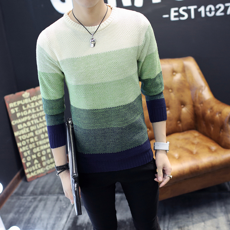 Spring Autumn Men's Jacket Coat Fashion Wool Striped  O-Neck Slim Fit Sweater Pullovers Mens Clothing  Pullover Men Pull Homme 3