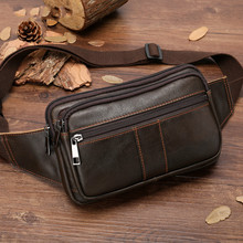Male Travel Waist Bag Men Fashion Men Genuine Leather Fanny Bag For Phone Pouch Male Leather Messenger Bags Brand Fanny Pack