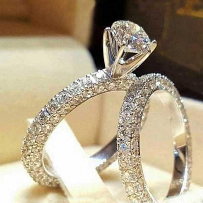 วันวาเลนไทน์ยี่ห้อ Zircon เงินแฟชั่นผู้หญิงแต่งงาน 2 ชิ้นชุดใหม่ 925 เครื่องประดับขนาด 5-11