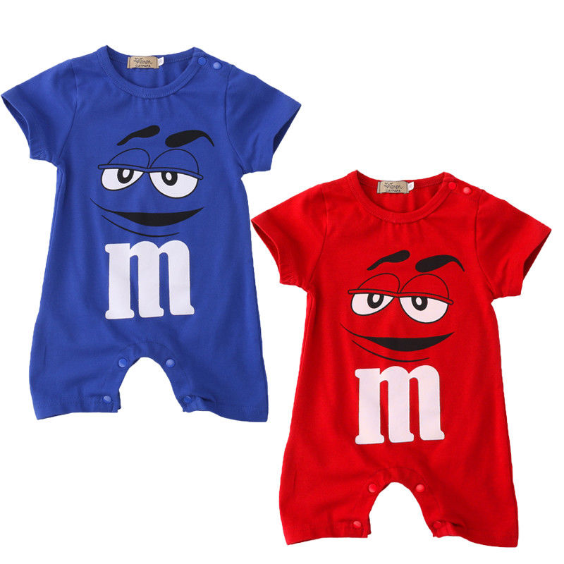 Cartoon Short Sleeve One Piece Baby Rompers