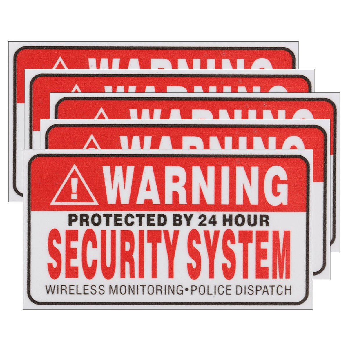 5Pcs/Set Warning Protected by 24 Hour Security System Stickers Saftey Alarm Signs Decal Warning Mark Business Waterproof signs