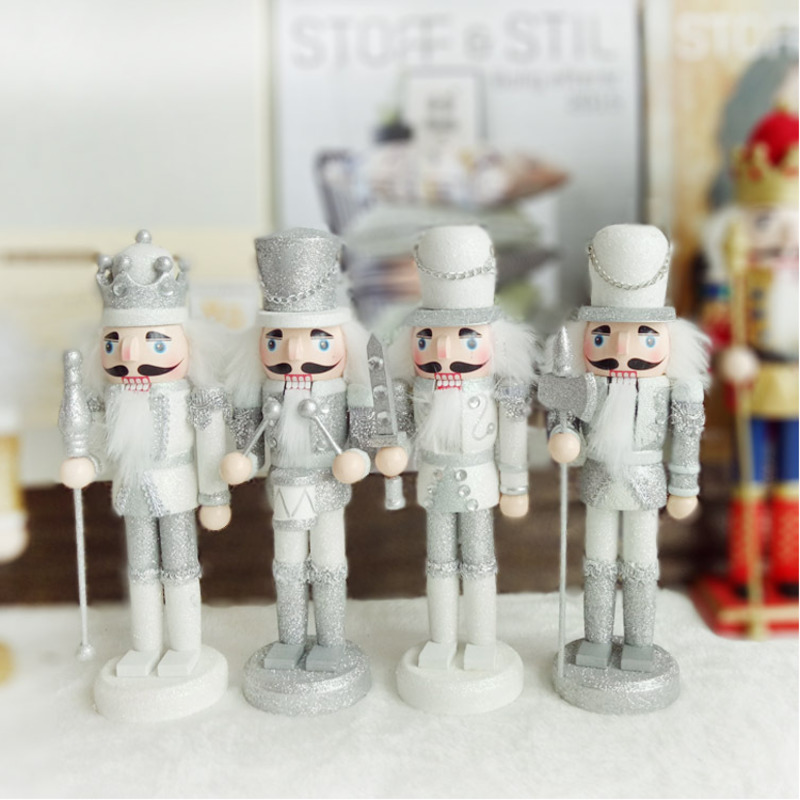 4pcs/set Handcrafted Wooden Nutcracker Dolls 24cm Silver Shiny Hand Painted Puppet for Christmas Festival Home Decoration
