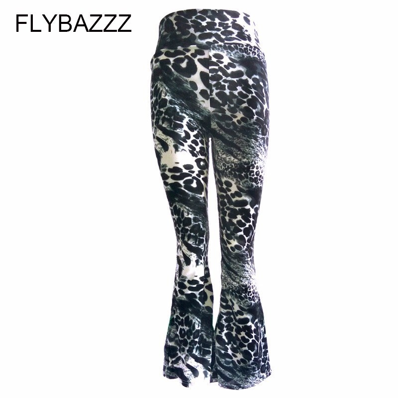 Women Autumn Print Streetwear Yoga Pants High Waist Wide Leg Pants Club Wear Skinny Stretchy Trousers Female Plus Size Trousers in Yoga Pants from Sports Entertainment