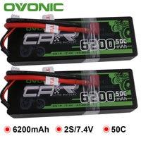 2X Ovonic LiPo Battery 6200mAh 7.4V LiPo 2S 50C 100C Battery Pack Hardcase for 1:8 1:10 Size Bandit Emaxx Slash HPI RC Car