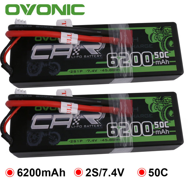 2X Ovonic LiPo Battery 6200mAh 7.4V LiPo 2S 50C-100C Battery Pack Hardcase for 1:8 1:10 Size Bandit Emaxx Slash HPI RC Car