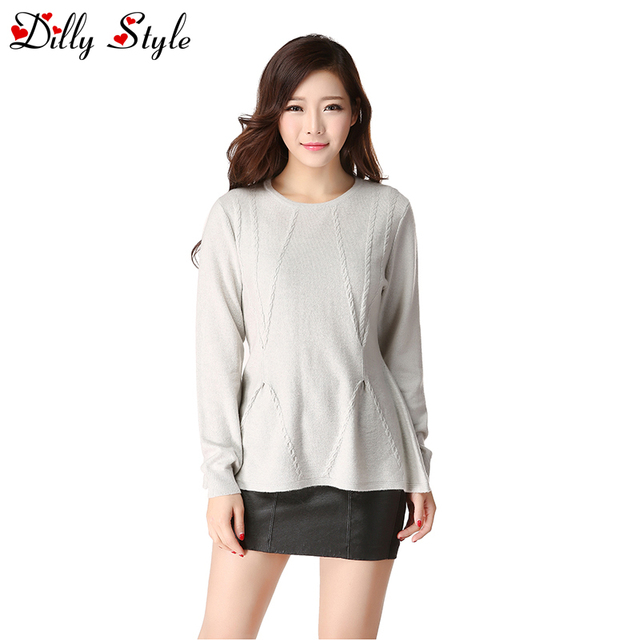 High Quality Women Female Fashion Autumn&Winter O-Neck Soft Warm Cashmere Sweaters Waist Pullovers -DL9810