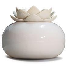 200Ml Ceramic Ultrasonic Aroma Humidifier Air Diffuser Simplicity Lotus Purifier Atomizer Essential Oil Diffuser White+White