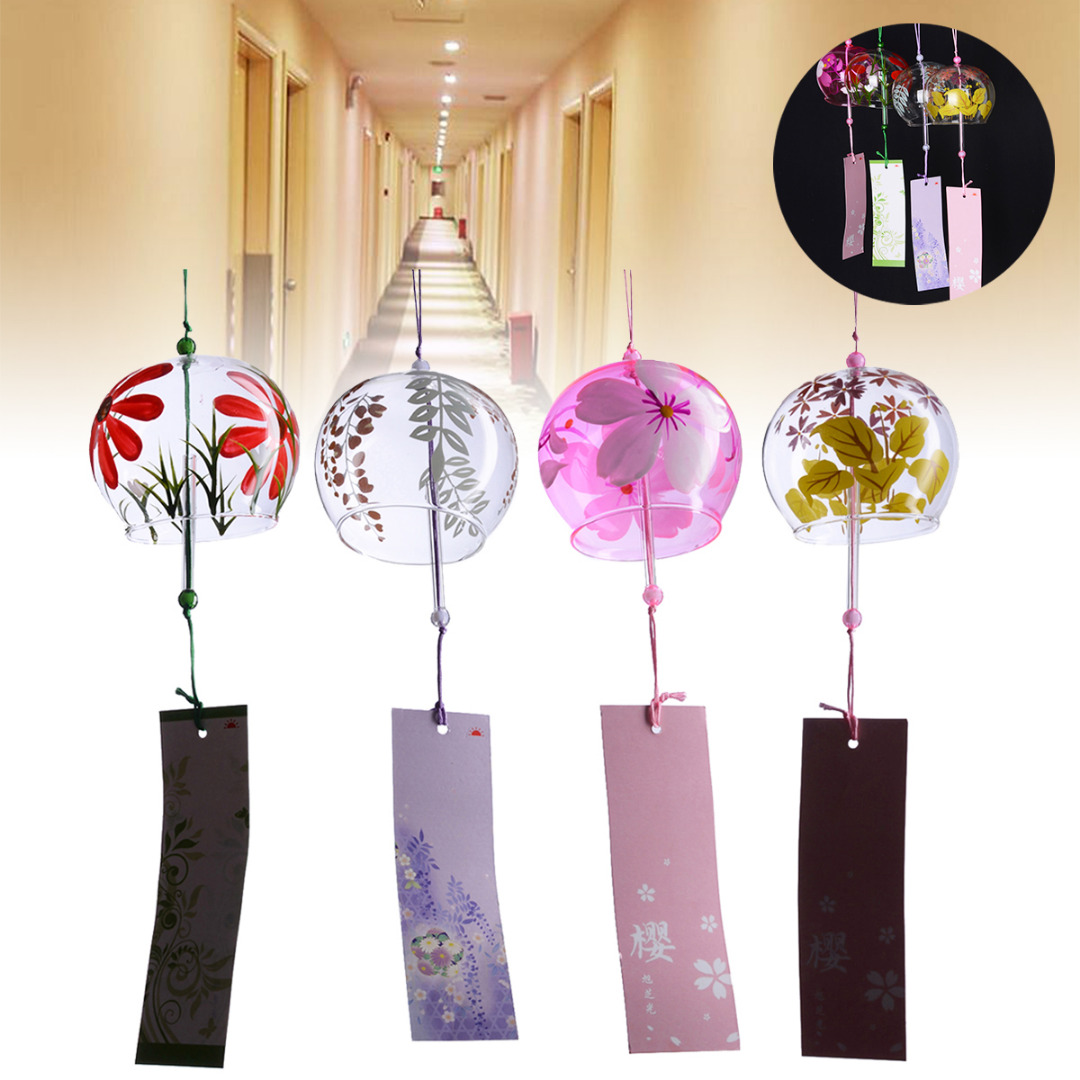 Us 2 93 40 Off 1pcs Japanese Glass Wind Chime Bells Blessing Room Hanging Wind Chimes Home Decorations 4 Style In Wind Chimes Hanging Decorations