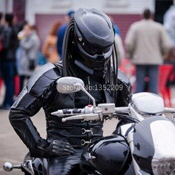 Premium ABS Fiberglass Motorcycle Helmet First Generation Iron Warrior Predator Full Face With Led Spotlights Unisex M