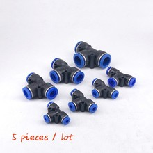 Free shipping 5PCS PE4 6 8 10 12MM  Tee 3-Way Fitting (5/32 1/4 5/16 3/8 1/2) Plastic joint quick T type tee PE