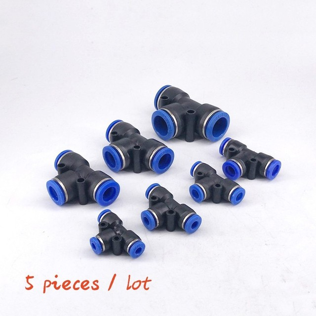 Free shipping 5PCS PE4 6 8 10 12MM  Tee 3-Way Fitting  (5/32'' 1/4'' 5/16'' 3/8'' 1/2'') Plastic joint quick joint T type tee PE