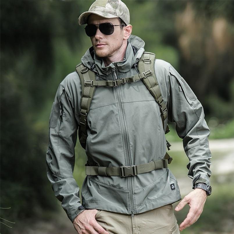 Militaire tactique extérieur doux Shell randonnée Sport vestes homme printemps/automne imperméable manteau à capuche vêtements de Sport