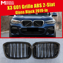 X3 G01 Front grills Mesh 1 Pair M-Style ABS Gloss Black Bumper Grille For 2 Slats Kidney 2019-in