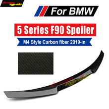 F90 M5 Spoiler Tail Rear Trunk Wing M4 Style Carbon fiber Black For BMW 2019+