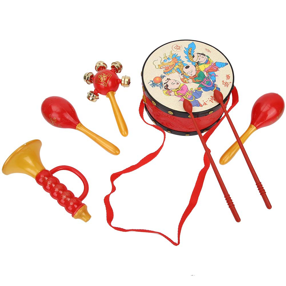 Baby Rattles & Mobiles Children Early Education Toy Kids Hand Drum Musical Instrument Set Kid Toys Plastic Roll Drum Trumpet Cabasa Musical Instrument Profit Small
