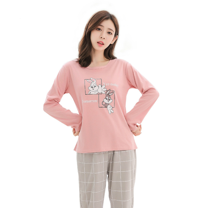 2019 Sleep Lounge Pajama Long Sleeve Top Long Pant Woman Pajama Set Cartoon Pyjamas Cotton Sleepwear For Women M L XL XXL XXXL in Pajama Sets from Underwear Sleepwears
