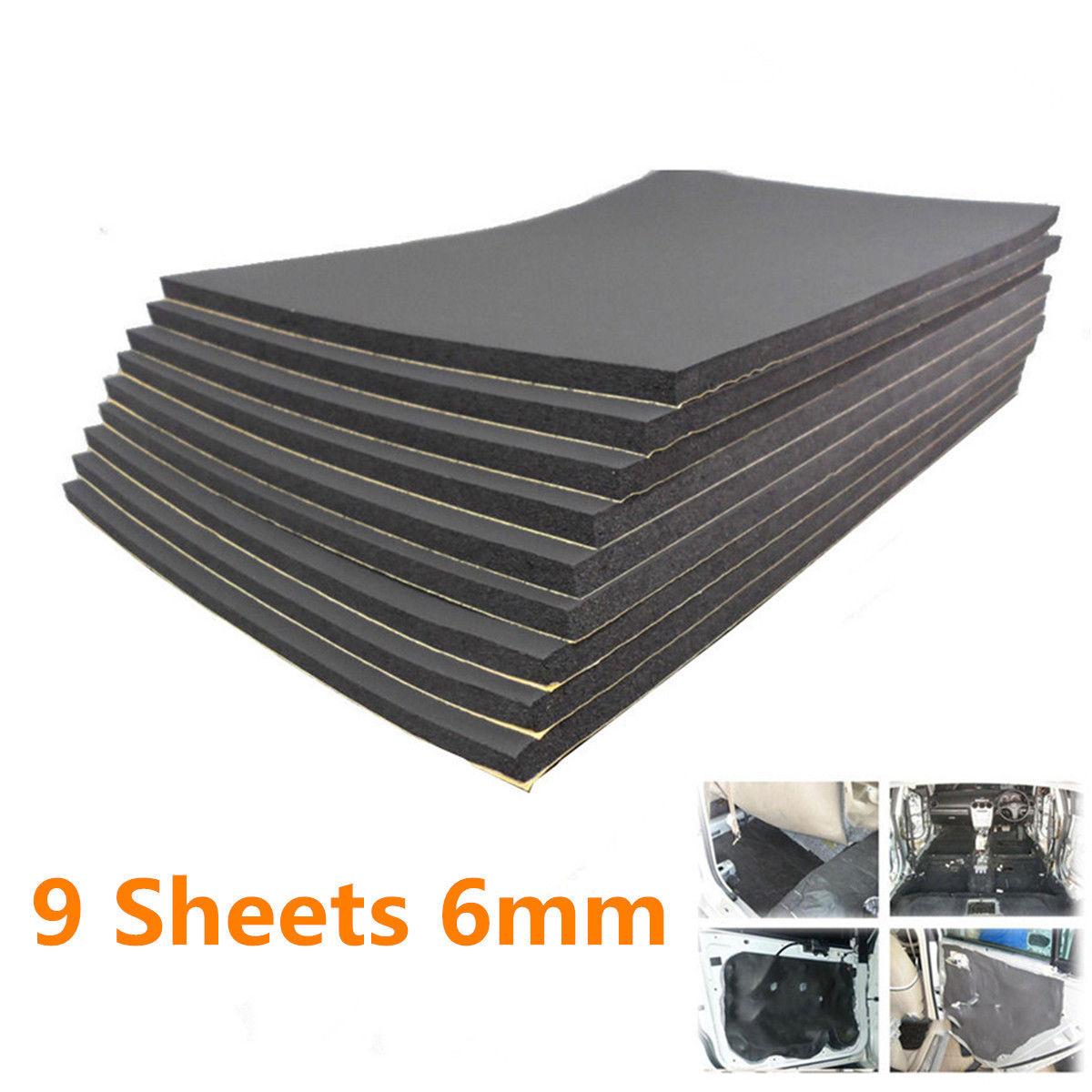 9Pcs Car Van Sound Proofing Deadening Insulation Foam 30x50cm 6mm Auto Noise Insulation Deadening Mat Hood Closed Cell Foam