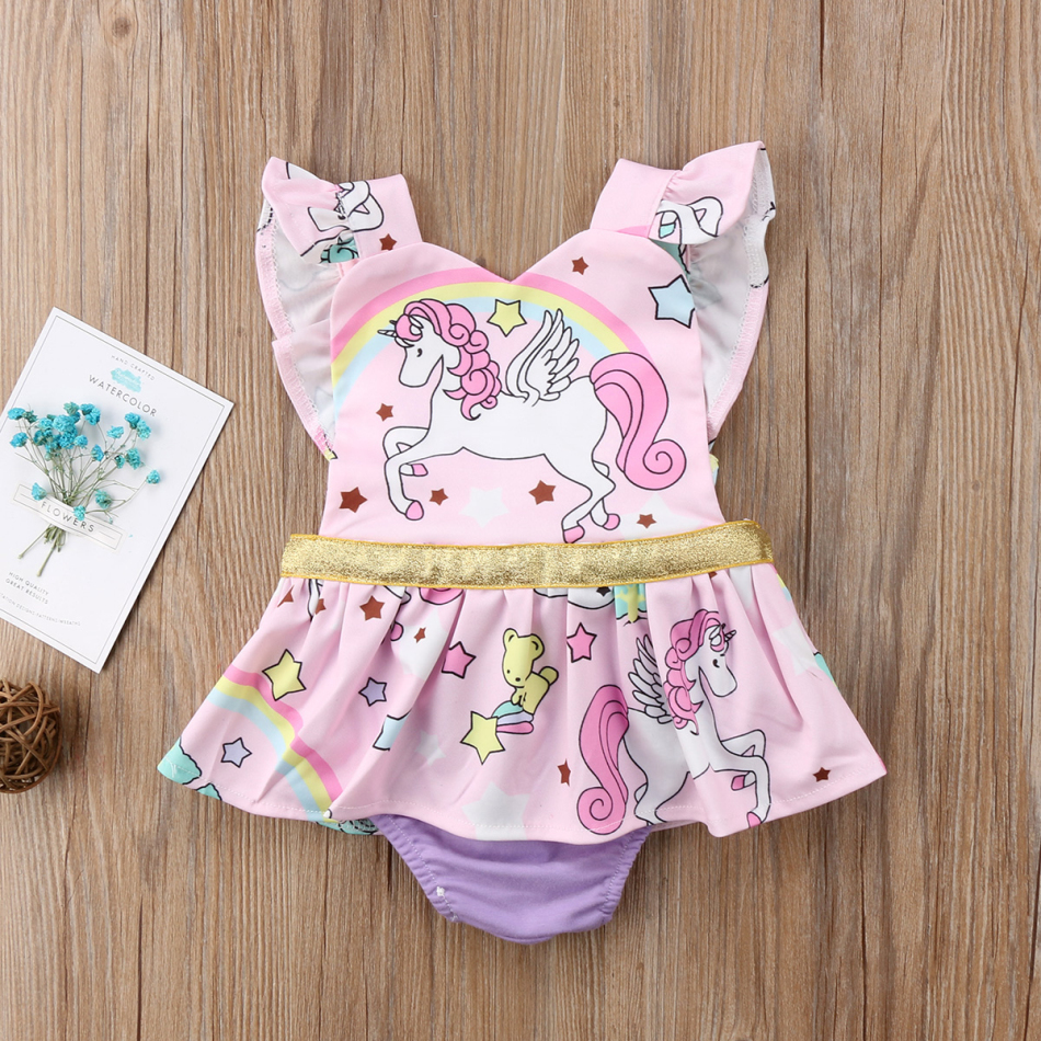 Cute Newborn Baby Girls Unicorn Jumpsuit Romper Bodysuit Clothes Outfits Summer