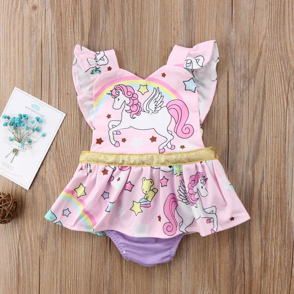Cute Newborn Baby Girls Unicorn Jumpsuit Romper Bodysuit Clothes Outfits Summer