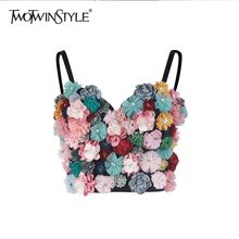 TWOTWINSTYLE Flower Patchwork Sexy Women Vest Sleeveless Hit Colors Strapless Crop Top Female Casual Summer 2019 Fashion New(China)