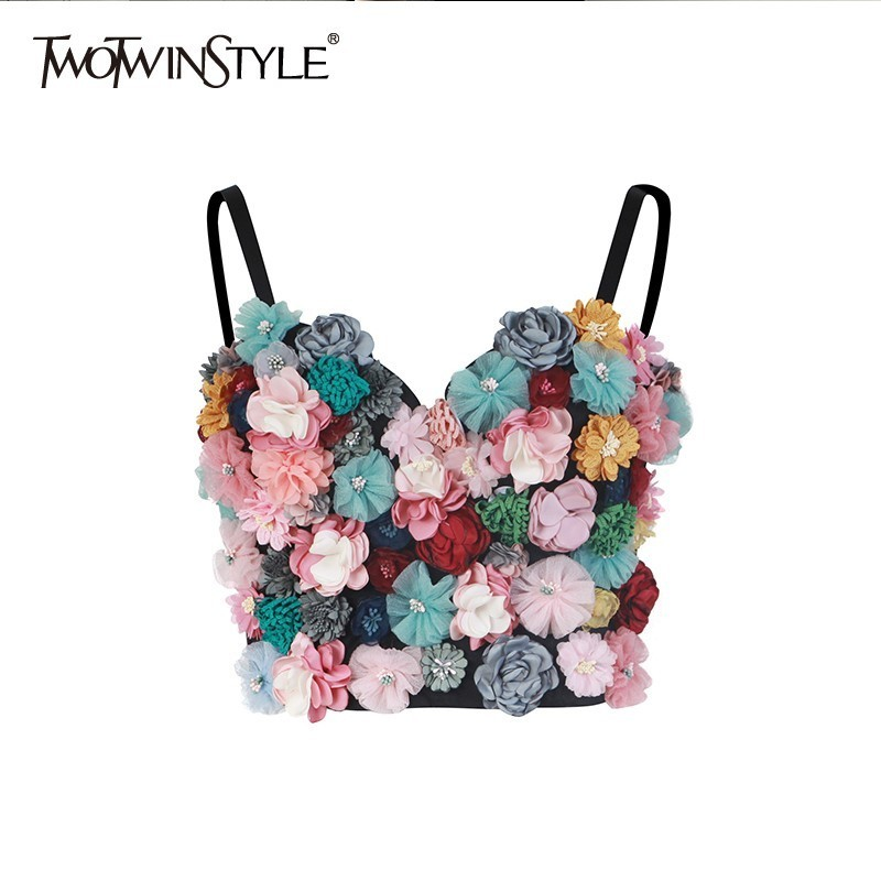 TWOTWINSTYLE Flower Patchwork Sexy Women Vest Sleeveless Hit Colors Strapless Crop Top Female Casual Summer 2020Fashion New