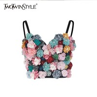 TWOTWINSTYLE Flower Patchwork Sexy Women Vest Sleeveless Hit Colors Strapless Crop Top Female Casual Summer 2019 Fashion New