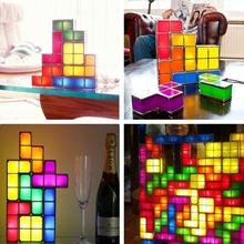 DIY 3D Tetris Puzzle Light Stackable LED Desk Lamp Constructible Block LED Night Light Romantic Novelty Lamp for Baby Gift