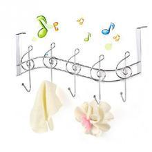 Door Back Fashion Music Notes Metal Hanger Hooks Kitchen Bathroom Organizer Hanging Rack Holder With 5-Hook