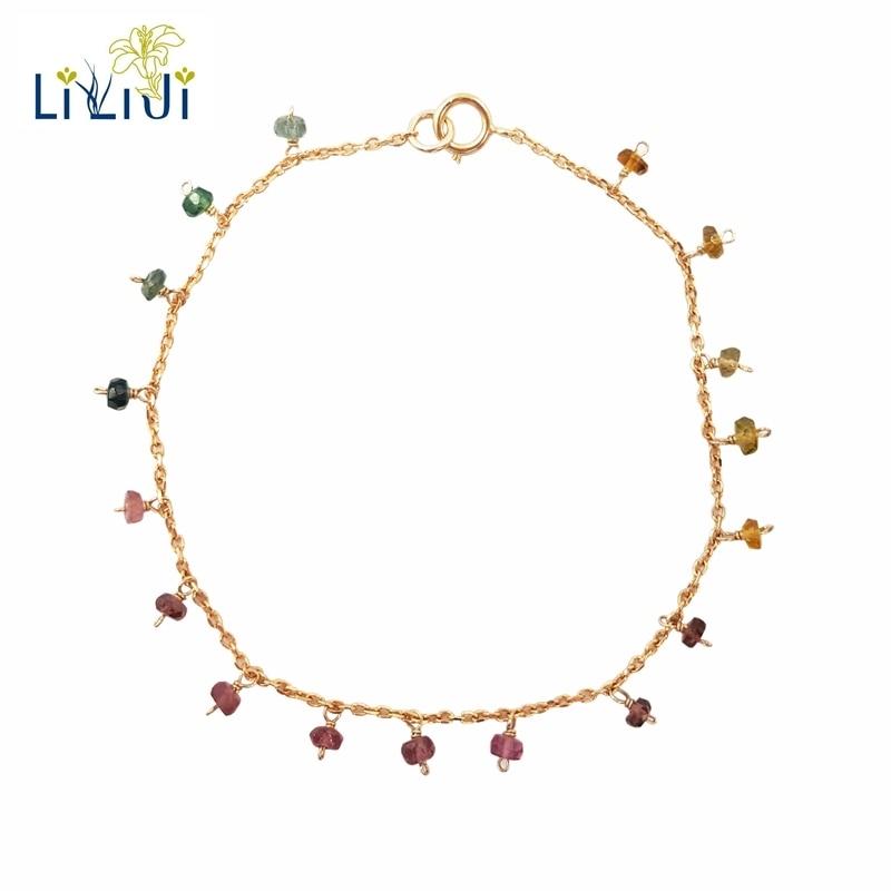 Bracelet Lii Ji arc-en-ciel Tourmaline S925 pierres précieuses naturelles 925 argent Sterling plaqué or fait à la main Bracelet délicat étincelant