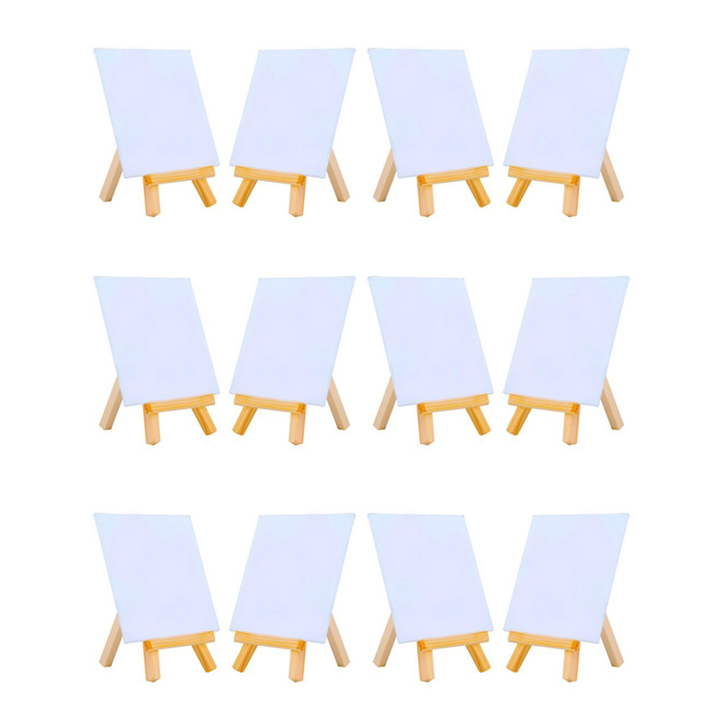 4 By 4 Inch Mini Canvas And 8*16cm Mini Wood Easel Set For Painting Drawing School Student Artist Supplies, 12 Pack