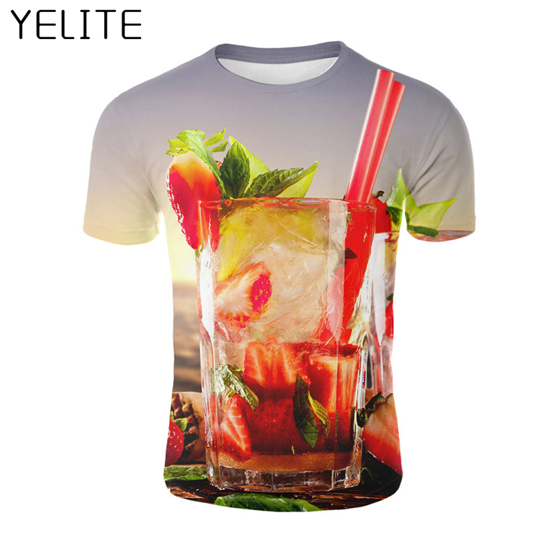 YELITE Print tshirts 3D Drink T-shirt Men tshirt Strawberry Fruit Cup Tees Funny Tops Short Sleeve O-neck Tshirt Hot 2019 Newest