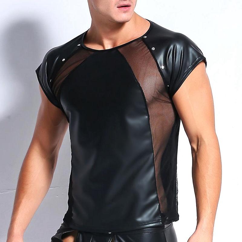 Elastic Faux Leather Mesh Undershirt Men Tops Hip Hop Summer Wetlook T Shirt Males Sexy Fitness Male Muscle Tees Black Clubwear