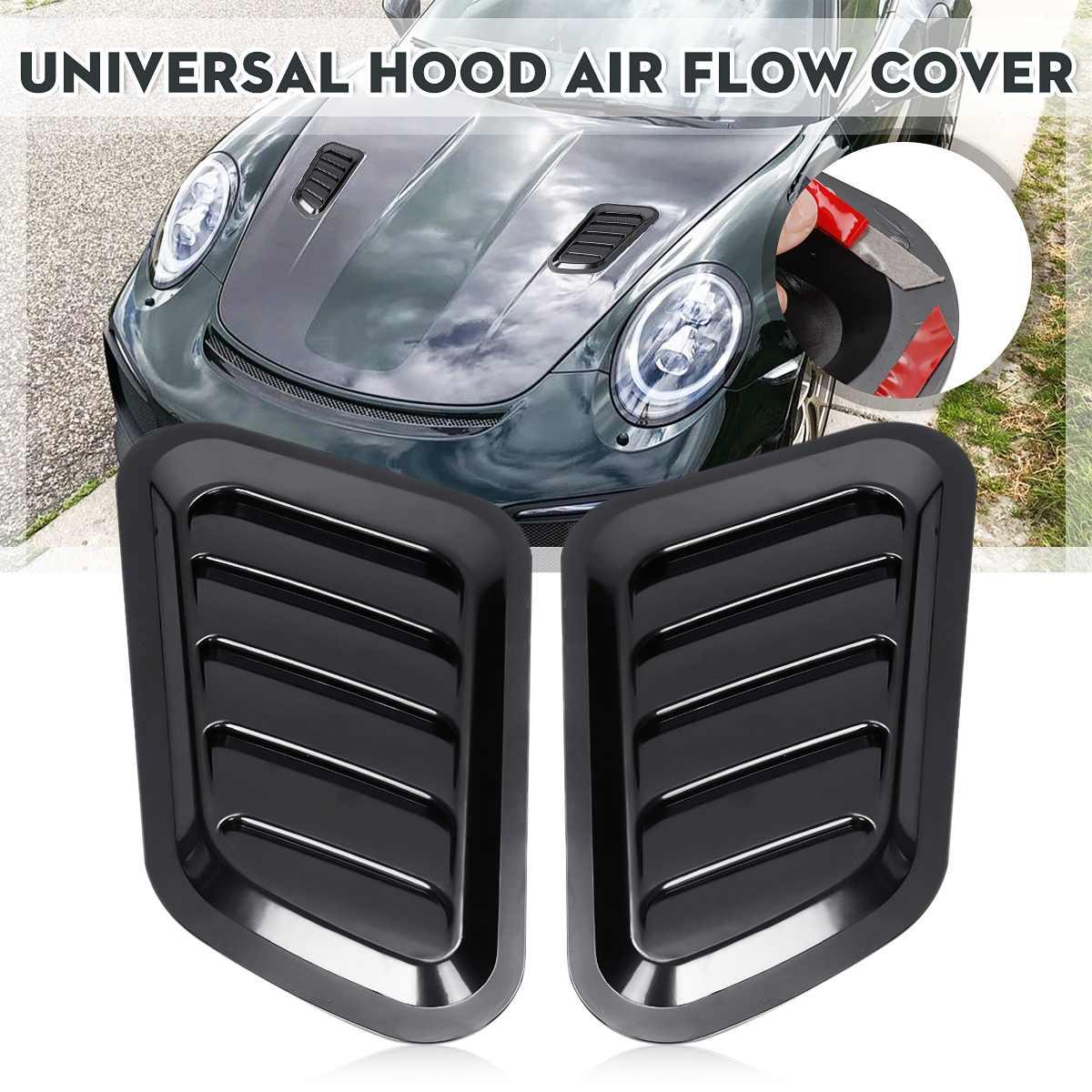 2Pcs ABS Car Front Engine Cover Sticker Car Decorative Air Outlet Flow Fender Intake Scoop Turbo Bonnet Vent Cover Hood