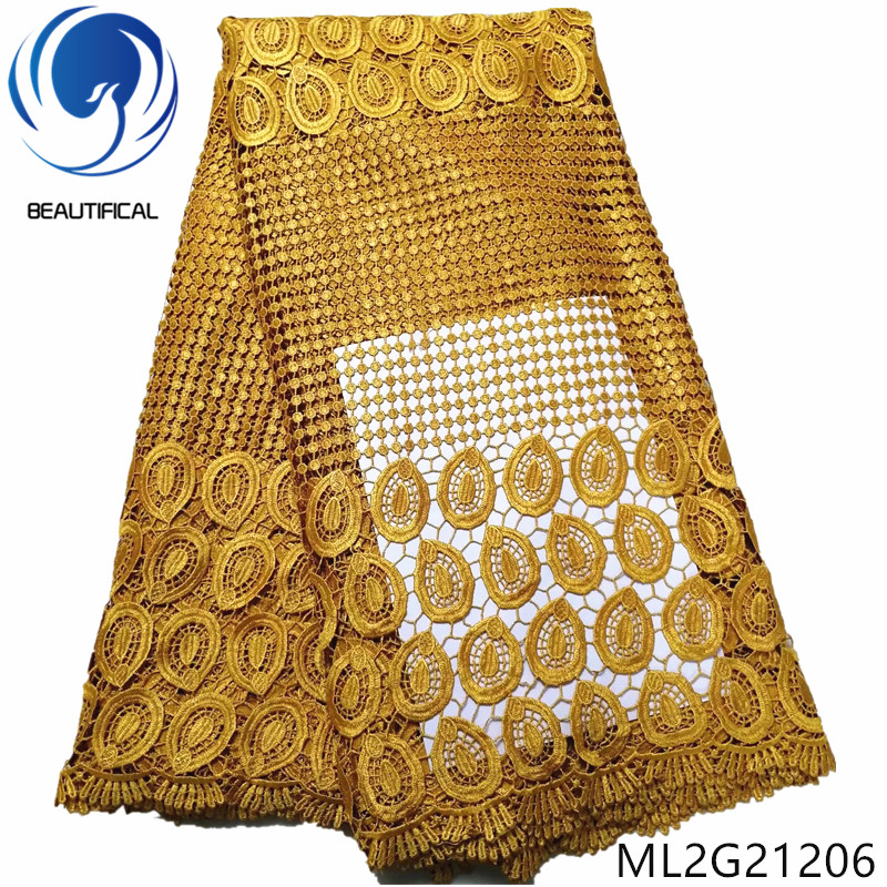 BEAUTIFICAL gold african guipure lace fabric for women cloth latest design nigerian cord lace ML2G212BEAUTIFICAL gold african guipure lace fabric for women cloth latest design nigerian cord lace ML2G212