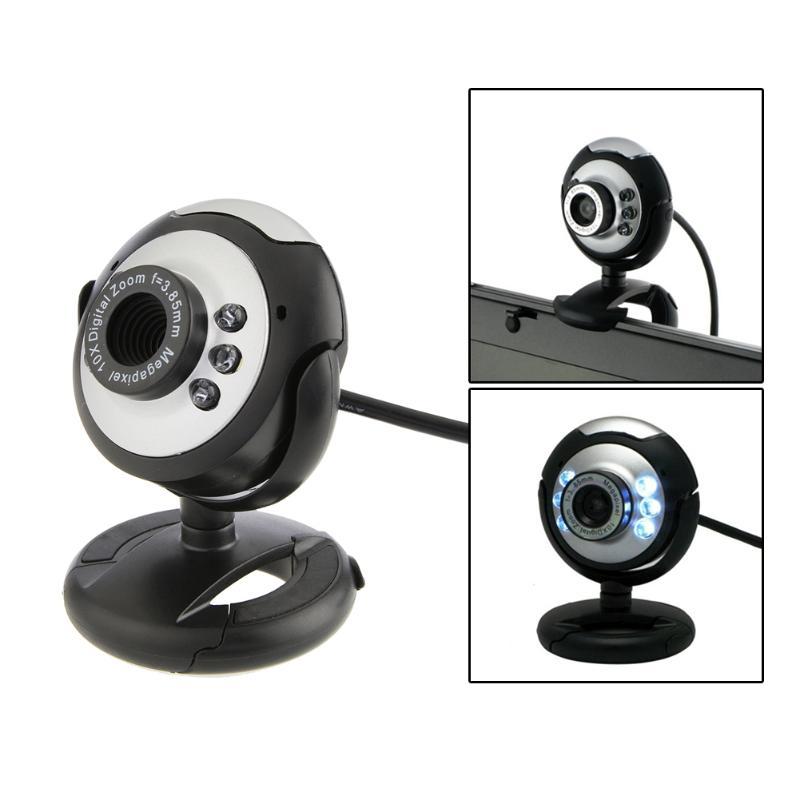 6 LED USB 2.0 webcam Camera 12 Mega Pixel Web Cam Digital Video Webcamera with Mic Night Vision for Desktop PC Laptop Computer