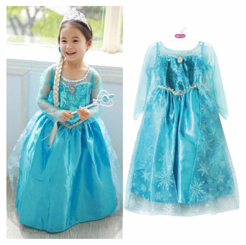 2019 New Blue Baby Girls Kids frozen costume Dress Snow Princess Queen Dress Up children's party Gown Cosplay Tulle Dress 3-8Y