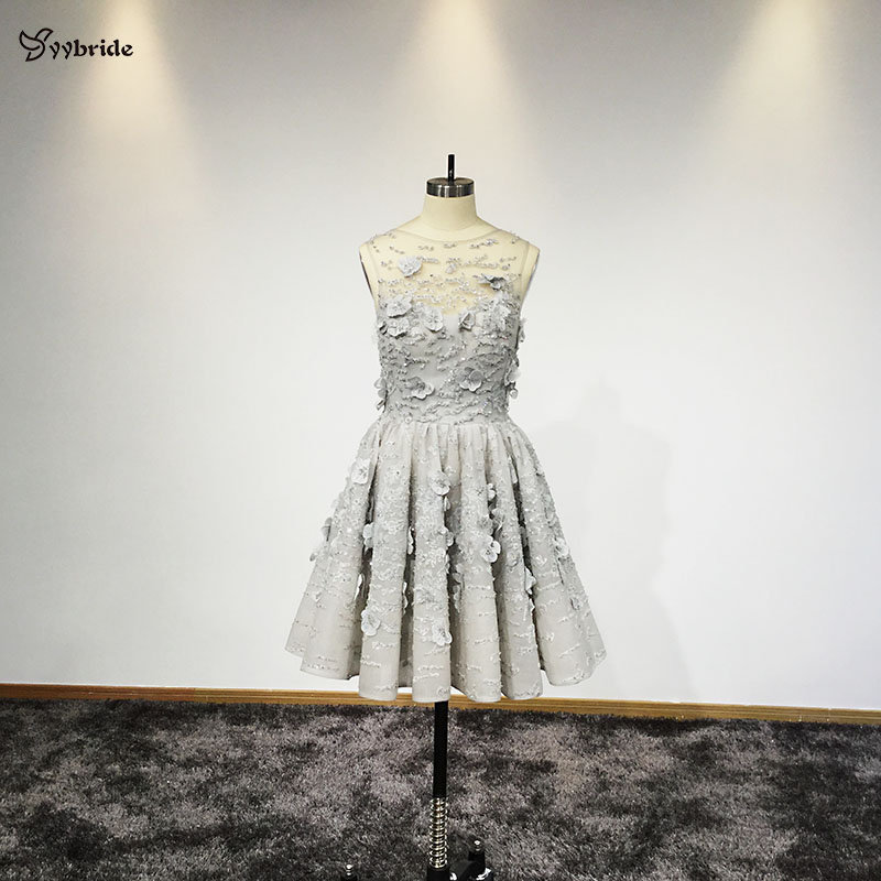 YYbride New Real Tailor Made Silver Color Above Knee Mini Skirt Party   Dresses   Scoop Neck Back V-Neck Short   Cocktail     Dresses